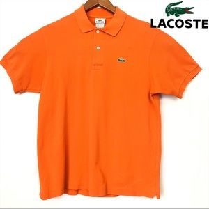 Mens Lacoste Orange Short Sleeve Polo Large Size 5